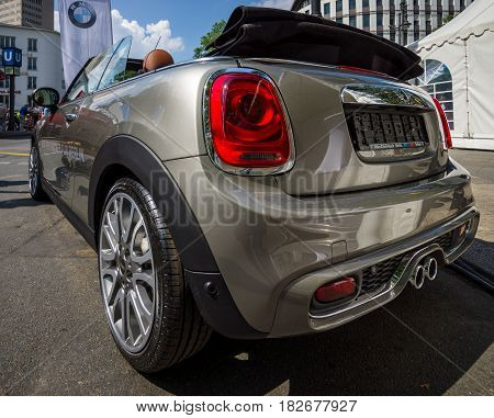 BERLIN - JUNE 05 2016: City car Mini Cooper S Convertible. Rear view. Classic Days Berlin 2016.
