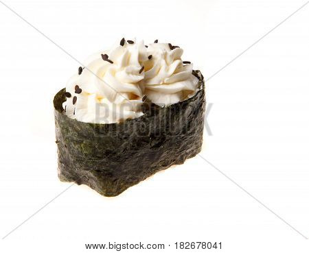 Japanese seafood sushi with nori on white background