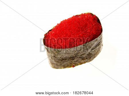 Japanese seafood sushi with nori and tobiko caviar on white background