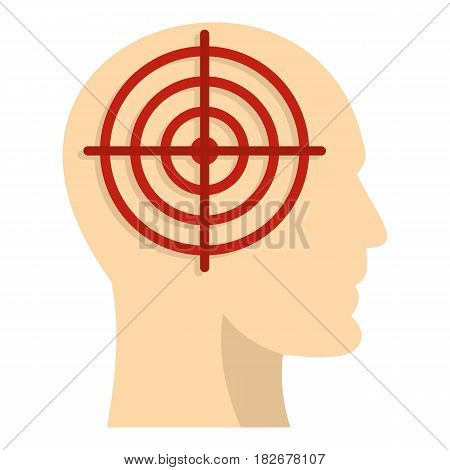 Human head with red crosshair icon flat isolated on white background vector illustration