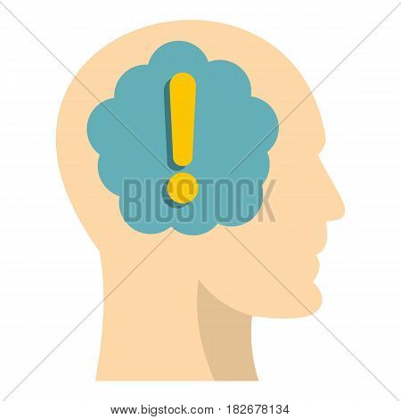 Exclamation mark inside human head icon flat isolated on white background vector illustration