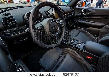 BERLIN - JUNE 05 2016: Interior of a city car Mini Cooper S Convertible. Classic Days Berlin 2016.