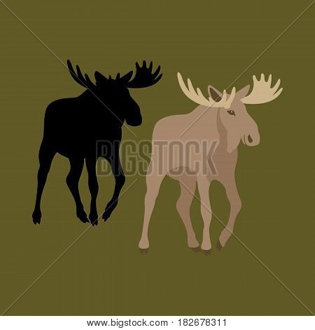 moose  vector illustration style Flat silhouette set