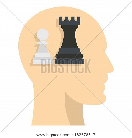Queen and pawn chess inside human head icon flat isolated on white background vector illustration