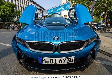 BERLIN - JUNE 05 2016: Supercar BMW i8 - first introduced as the BMW Concept Vision Efficient Dynamics is a plug-in hybrid sports car developed by BMW. Classic Days Berlin 2016.