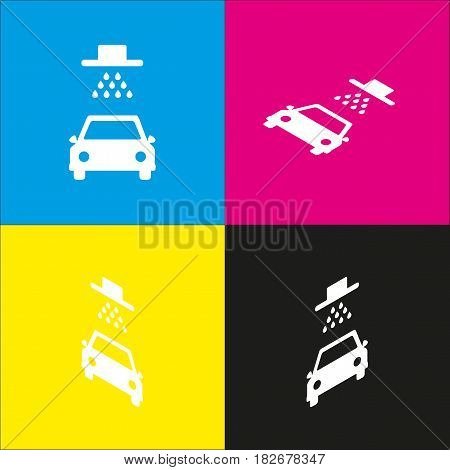 Car wash sign. Vector. White icon with isometric projections on cyan, magenta, yellow and black backgrounds.
