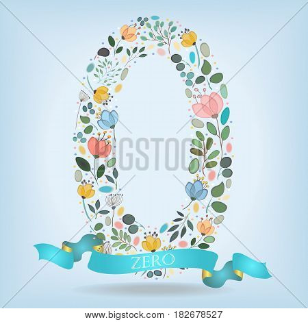 Floral Number Zero. Watercolor graceful flowers plants and blurs. Blue ribbon with golden back and white text. Vector Illustration