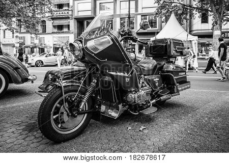BERLIN - JUNE 05 2016: Motorcycle with sidecar Honda Gold Wing GL1100 Full-Dresser 1980. Black and white. Classic Days Berlin 2016.