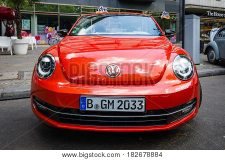 BERLIN - JUNE 05 2016: Compact car Volkswagen Beetle Cabriolet 2016. Classic Days Berlin 2016.