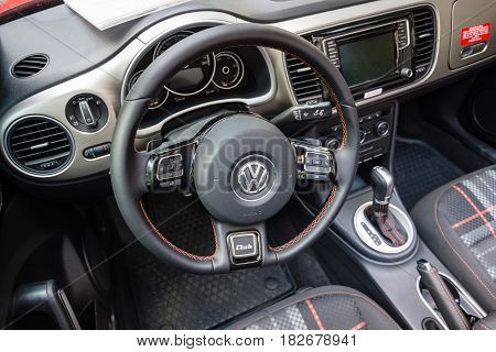 BERLIN - JUNE 05 2016: Interior of compact car Volkswagen Beetle Cabriolet 2016. Classic Days Berlin 2016.