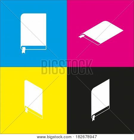 Book sign. Vector. White icon with isometric projections on cyan, magenta, yellow and black backgrounds.