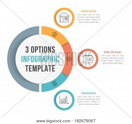 3 Options infographic template with line icons, vector eps10 illustration