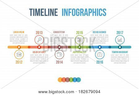 Horizontal timeline infographics template with colorful circles, vector eps10 illustration