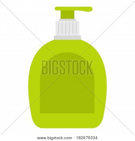 Green bottle with liquid soap icon flat isolated on white background vector illustration