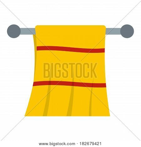 Yellow towel hanging on hanger icon flat isolated on white background vector illustration