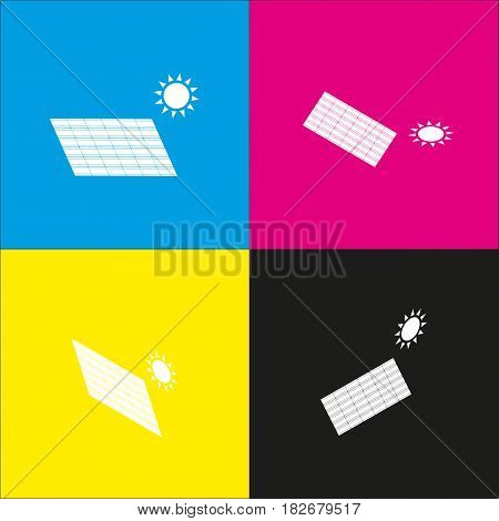 Solar energy panel. Eco trend concept sign. Vector. White icon with isometric projections on cyan, magenta, yellow and black backgrounds.