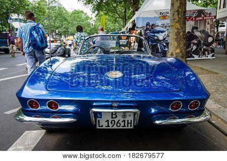 BERLIN - JUNE 05 2016: Sports car Chevrolet Corvette (C1). Rear view. Classic Days Berlin 2016.