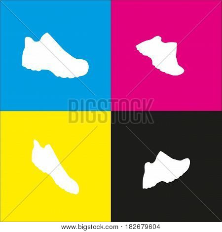 Boot sign. Vector. White icon with isometric projections on cyan, magenta, yellow and black backgrounds.