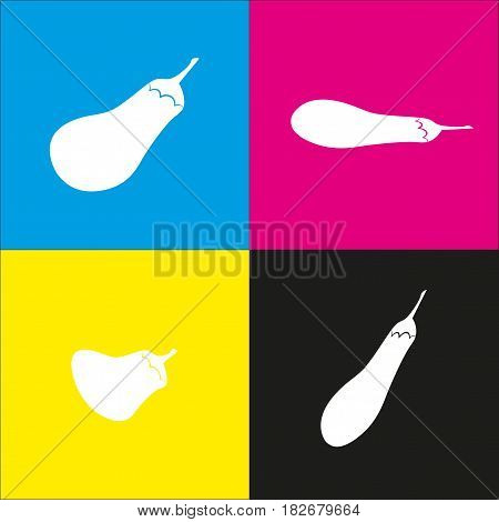 Eggplant sign. Salad ingredient. Healthy vegetable. Vector. White icon with isometric projections on cyan, magenta, yellow and black backgrounds.