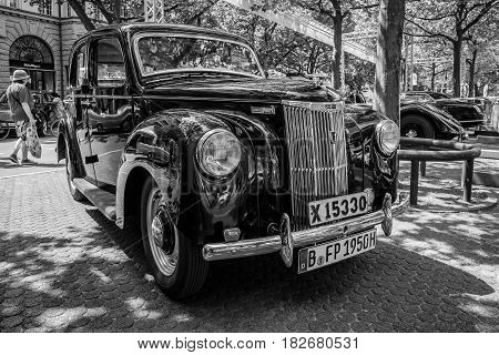 BERLIN - JUNE 05 2016: Vintage car Ford Prefect (E493A) a British cars which was produced by Ford UK. Black and white. Classic Days Berlin 2016.
