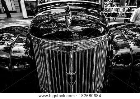 BERLIN - JUNE 05 2016: Fragment of vintage car Ford Prefect (E493A) a British cars which was produced by Ford UK. Black and white. Classic Days Berlin 2016.