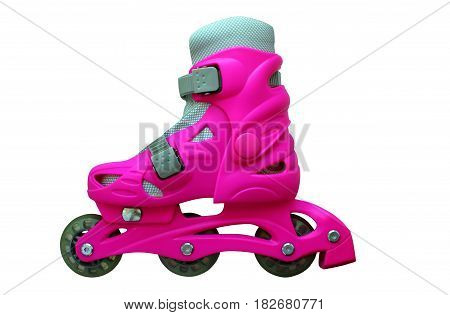 Roller skates red isolated on white background, ride on the road