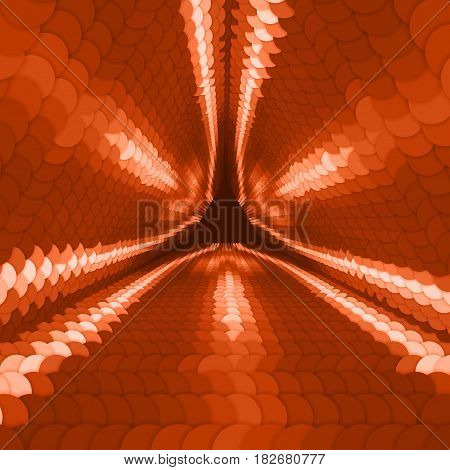 Vector infinite triangular tunnel of colorful circles on dark red background. Spheres form tunnel sectors. Abstract cyber colorful background for your designs. Elegant modern geometric wallpaper.