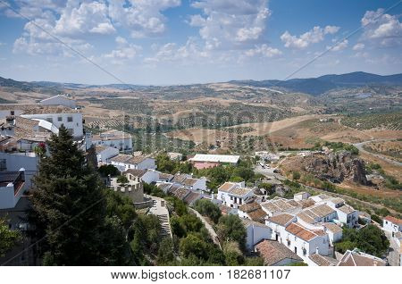 Views of Zahara de la Sierra Spain. This village is part of the pueblos blancos -white towns- in southern Spain, Andalusia, region