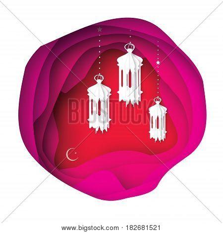 Ramadan Kareem Greeting card. Paper cut hanging traditional arabic lamps. Origami layered pink cave landscape. Crescent moon. Vector illustration.