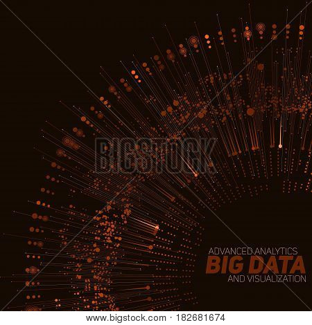 Big data circular orange visualization. Futuristic infographic. Information aesthetic design. Visual data complexity. Complex data threads graphic visualization. Social network. Abstract data graph
