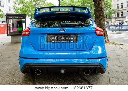 BERLIN - JUNE 05 2016: Compact car Ford Focus RS (third generation). Rear view. Classic Days Berlin 2016.