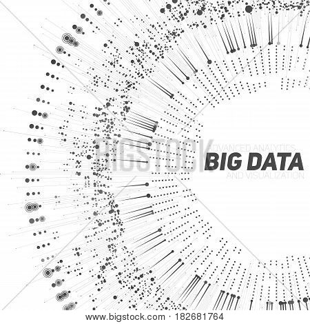 Big data circular grayscale visualization. Futuristic infographic. Information aesthetic design. Visual data complexity. Complex data threads graphic visualization. Social network. Abstract data graph