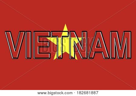 Illustration of the flag of Vietnam with the country written on the flag.