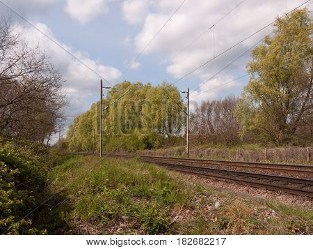 Wonderful Shots Of Day Time Train Tracks As Seen Standing On The Track, No People, No Train, In The