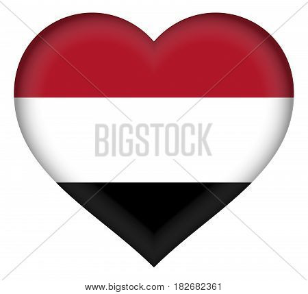 Illustration of the flag of the Yemen shaped like a heart