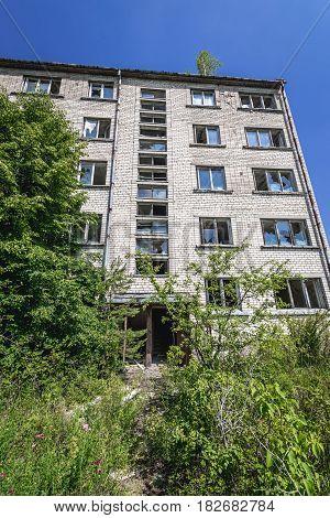 Residential buildings in abandoned former Soviet military town Skrunda in Latvia