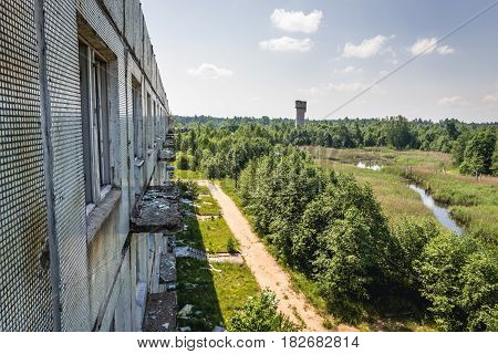 Abandoned former Soviet military town Skrunda in Latvia