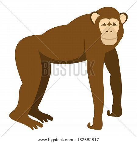 Brown monkey standing on its four legs icon flat isolated on white background vector illustration