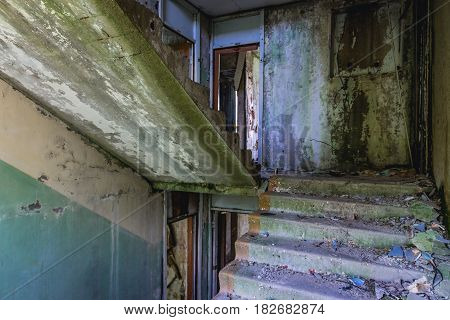 Stairs in old hospital in former Soviet military town Skrunda-1 in Latvia