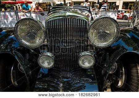BERLIN - JUNE 05 2016: Fragment of a vintage car Bentley Special Speed Six. Classic Days Berlin 2016.
