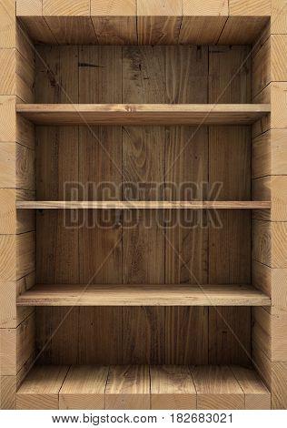 Blank empty old wooden bookshelf. 3d rendering