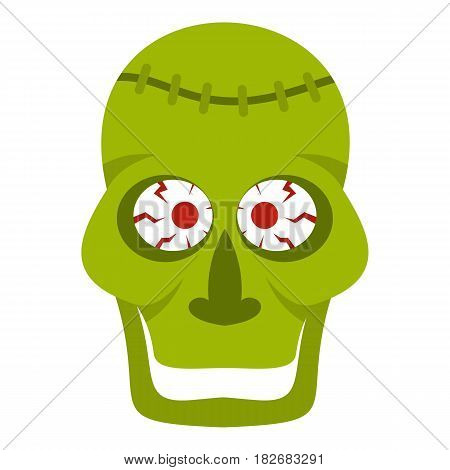Green zombie skull icon flat isolated on white background vector illustration