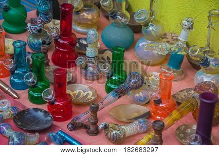 Tools For Smoke At Market In India, North Goa, Arambol