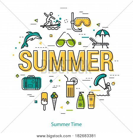 Vector round linear concept of summertime vacation. Big letters SUMMER and holiday icons, dolphin, ice cream, mask with a tube, sunglasses, surfing and chaise lounge with umbrella