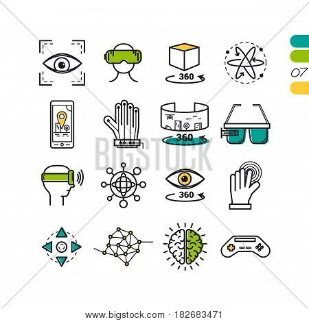Vector set of linear virtual reality modern computer entertainment icons. The seventh series of symbols