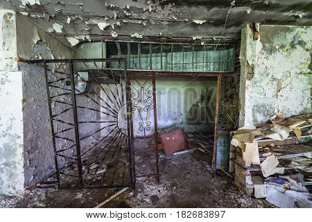 Inside the abandoned garrison shop in Skrunda ghost town former USSR military base in Lativa