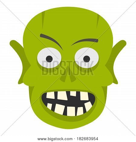 Green zombie head icon flat isolated on white background vector illustration