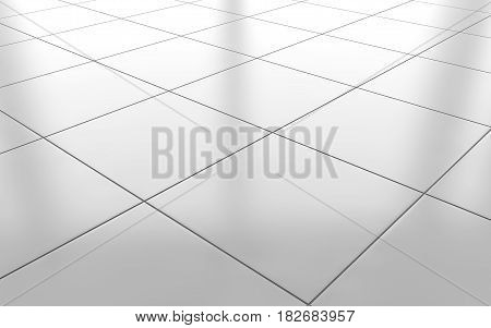 White glossy ceramic tile floor pattern background. 3d rendering