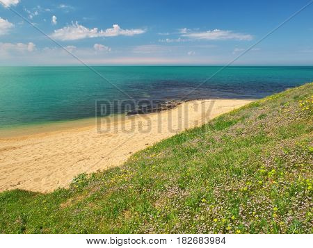 Spring coast on the sea. Sky, sea, and green grass. Nature composition.