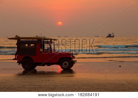 Goa, India - March 1: Red Car Jeep With Rescuers On Arambol Beach On March 1, 2017, Goa, India